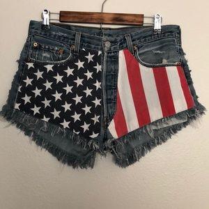 Vintage 501 Levi's American Flag Denim Shorts
